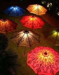 lit umbrellas.