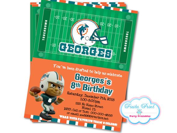 MIAMI DOLPHINS NFL Invitation Digital Printable by FiestaPrint, $8.00: pinterest.com/pin/445363850622348605