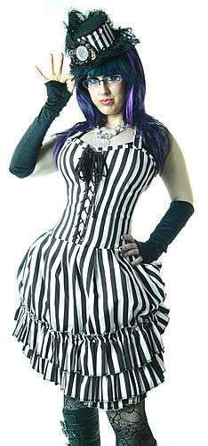 MERCEDES WHITE AND BLACK STRIPED DRESS Steampunk Gothic Alternative
