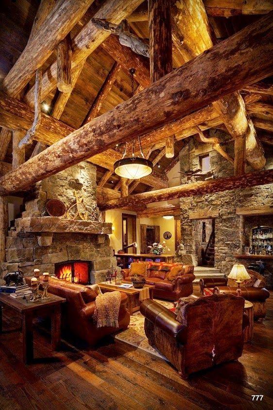 Amazing Log Cabin Interior Dream House Ideas Pinterest
