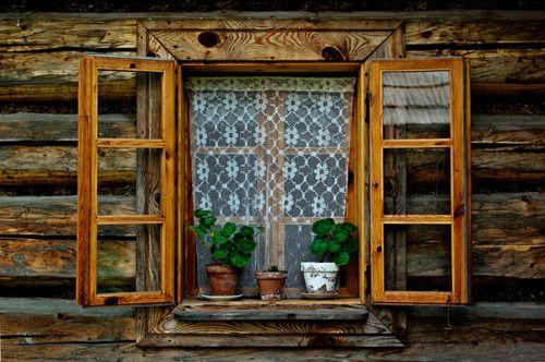 Log Cabin Exterior Window Pinterest