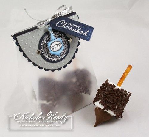 Marshmallow dreidel. Pretzel, marshmallow, sprinkles and a chocolate ...