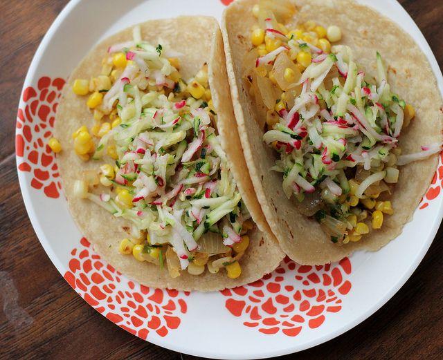 Tacos with Corn, Zucchini-Radish Slaw and Avocado   Recipe