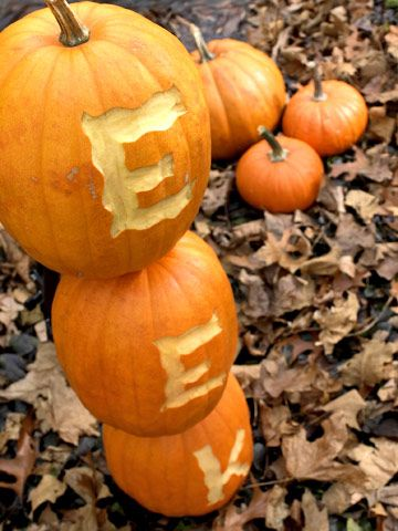 Carve letters into pumpkins to create a spooky message for trick-or-treaters. More creative ideas for #pumpkin carving: http://www.bhg.com/halloween/pumpkin-carving/pumpkin-carving-ideas/?socsrc=bhgpin083112letterpumpkins#page=3