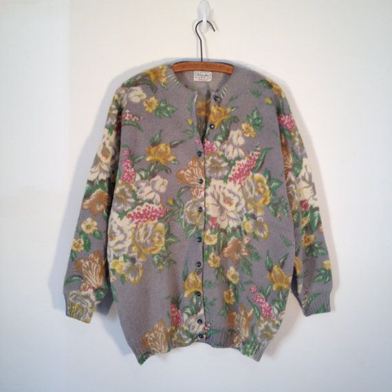 RESERVED vintage 80s benetton gray floral wool cardigan sweater l xl