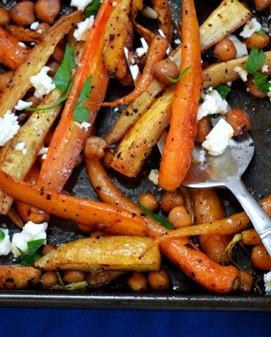 Sweet and Spicy Roasted Carrots, Parsnips, and Chickpeas | Recipe