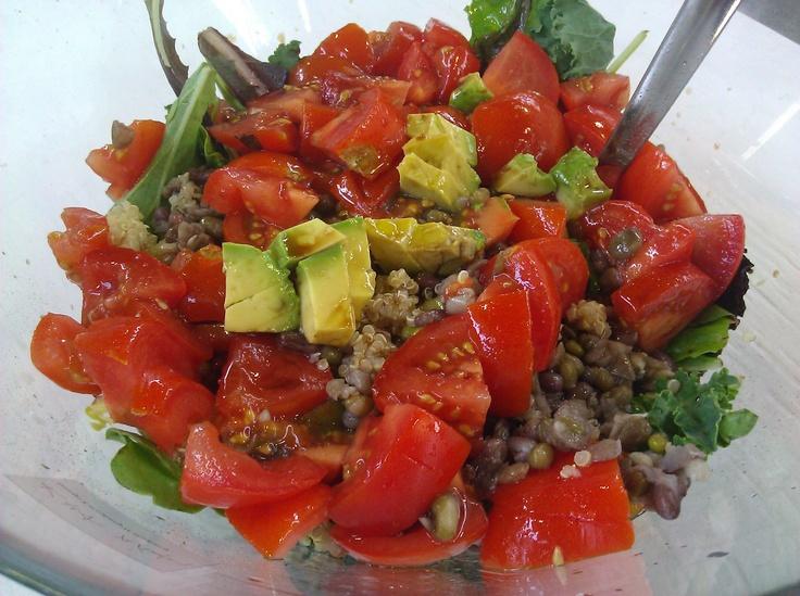 ... beans, avocado, kale, mixed greens, and sautéed shallots & garlic