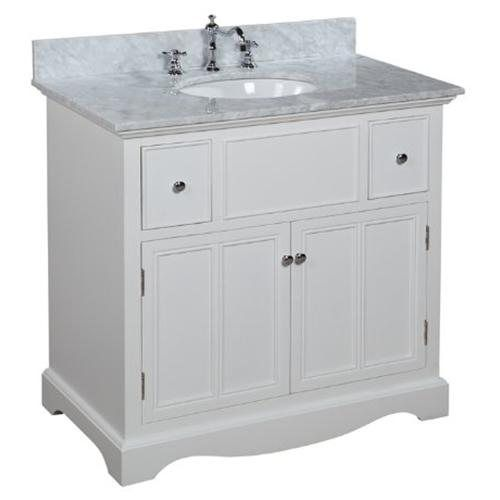 Emily 36 inch bathroom vanity carrera white for Bathroom cabinets 20 inches deep