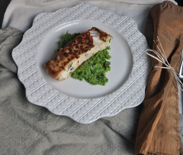 oh, i have to make this: Halibut on Minted Fava Bean and Pea Puree