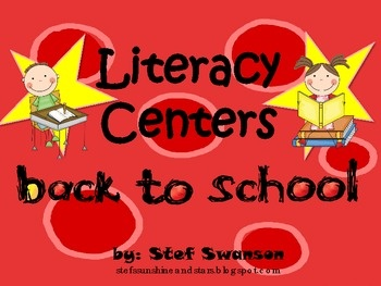 7 Literacy Centers and more! {Kindergarten and 1st grade Common Core Aligned} This packet provides hands-on engaging activities! Spin a Letter Graphing Center, 1st day/week Student Memory Book, School Pictures Beginning Letter Tree Map Center and more!
