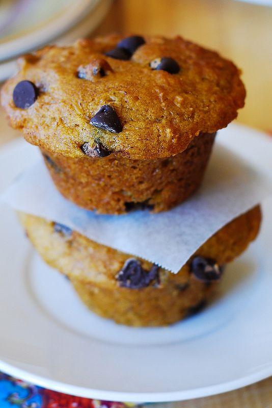 chip muffins: combining banana bread + chocolate chips + pumpkin ...