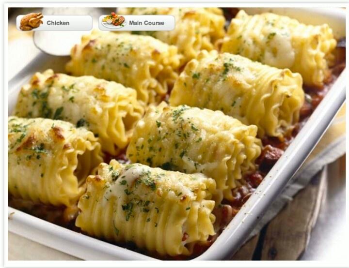 Chicken cheese lasagna roll ups | Food porn! | Pinterest