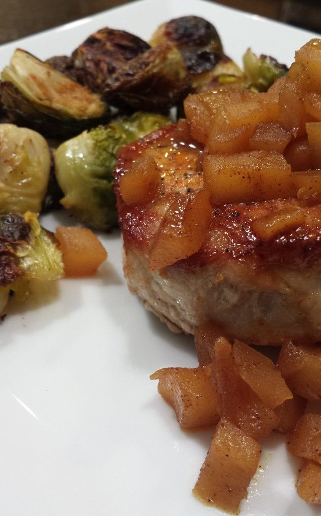 Spicy Pork Chops with apple chutney and lemon brussels sprouts - paleo