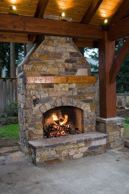 Fireplace In A Pavilion Outdoor Living And Gardening Pinterest