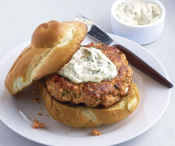 Burgers with Herb Aïoli....we bought salmon burgers from Costco ...