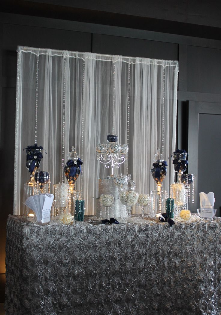 BY TASTY TABLES Navy Blue Candy Buffet Bling Candy Buffet Candy Buffet San Diego Wedding