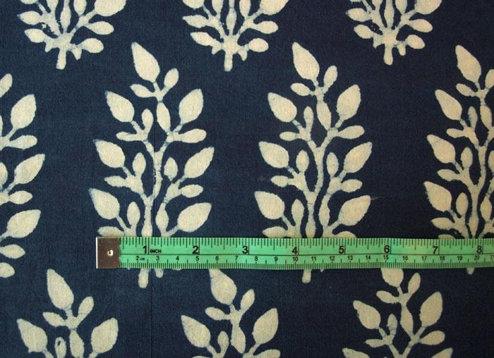 Hand Block Print, Cotton Fabric. Natural Indigo Dye $24.99