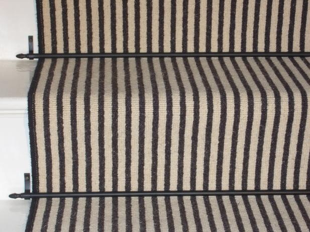 Carpet stair runner black and white stripe real quality - Striped carpeting ...