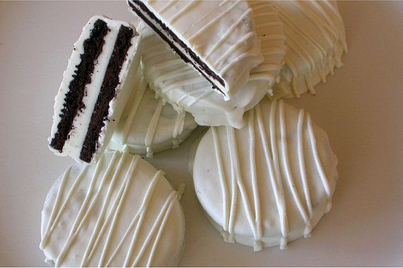 60 Edible Wedding Favors White On White Dipped Oreo Cookies For Wed