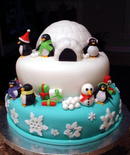 Holiday Penguin Cake Penguins – She Bakes Cakes LLC