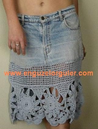 Crochet Jeans : old jeans skirt made new with crochet Jeans Skirt #2dayslook # ...