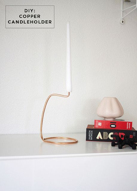 DIY copper candlestick holder