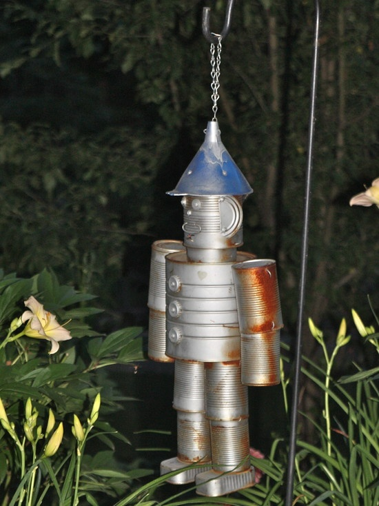 Eclectic landscape tin man windchime tin can people for Tin man out of cans
