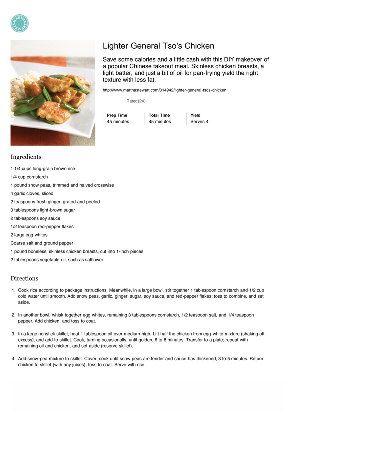 Lighter General Tso's Chicken   Chicken & Turkey   Pinterest