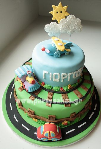 Cake for a first birthday cars bikes vehicle cakes pint