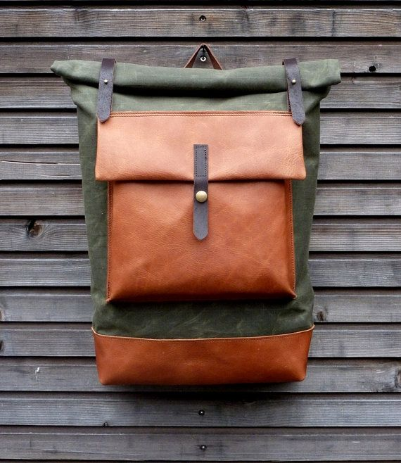 waxed canvas rucksack backpack with roll up top and oiled. Black Bedroom Furniture Sets. Home Design Ideas