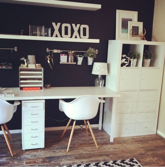 2X4 ikea expedit with long desk | Home-office nook | Pinterest
