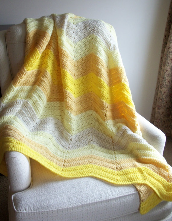 Crochet Afghan yellow waves blanket