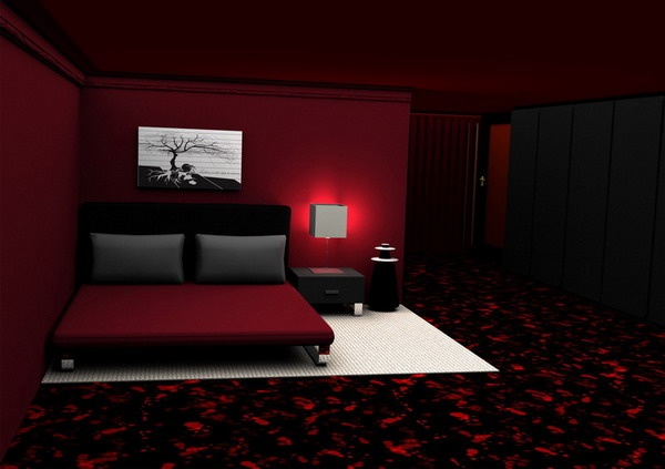 modern romantic bedroom within red color scheme