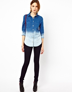 Enlarge Warehouse Western Shirt In Dip Dye  $70.36  Denim shirt by Warehouse