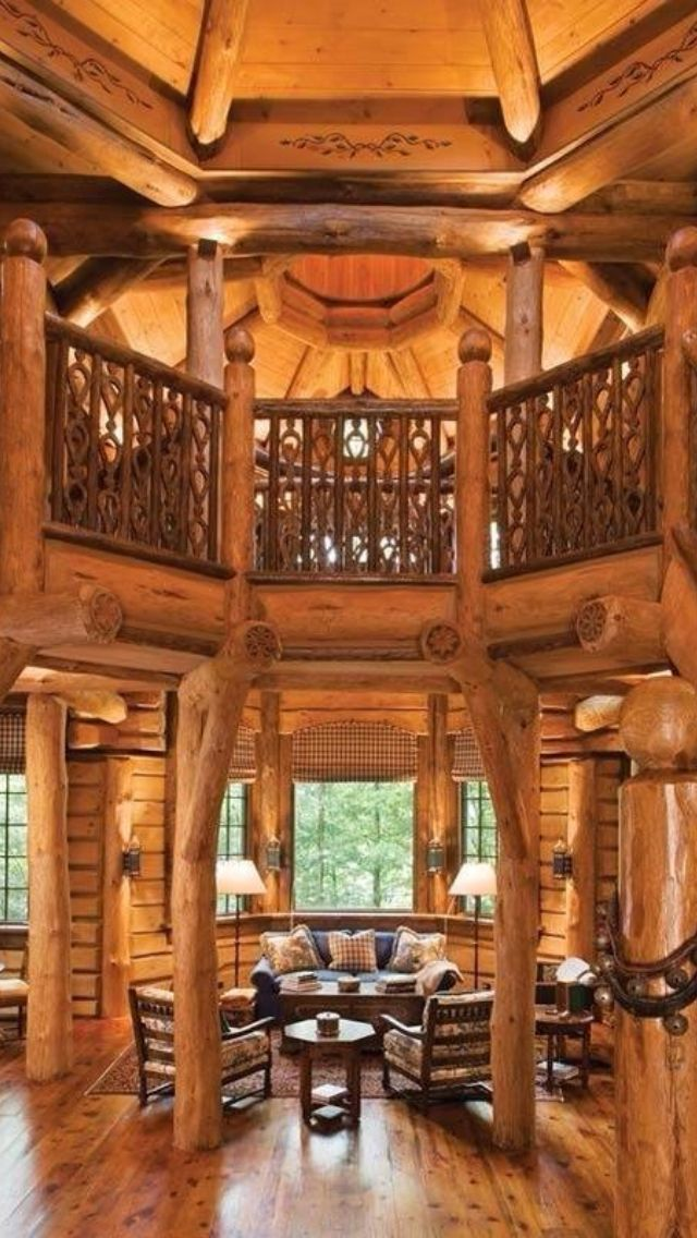 Beautiful log home lottery winnings bucket list for Log home interior designs