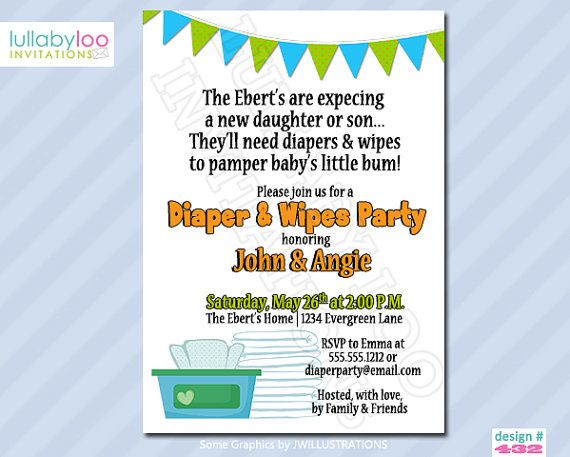 Diaper Party Baby Shower Invitations (432)