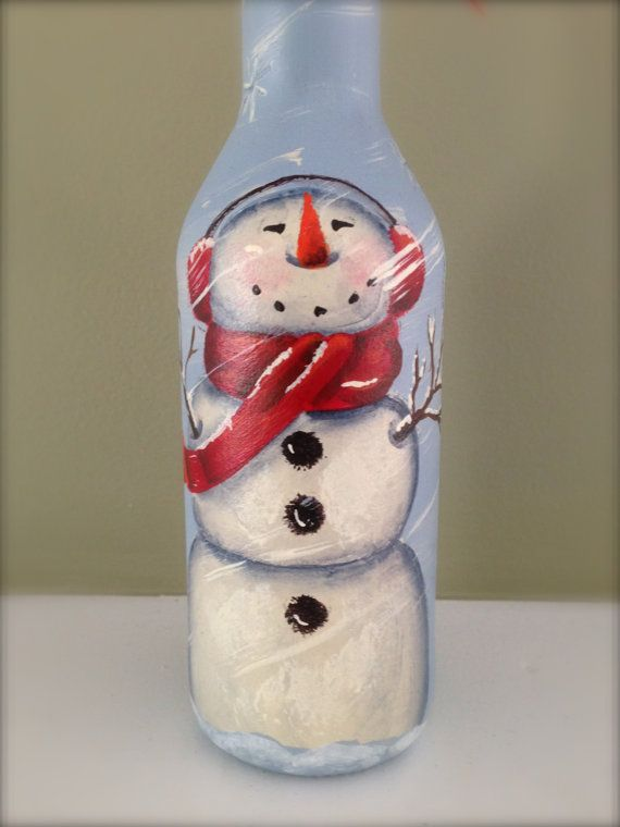 Snowman wine bottle hand painted for How to paint snowmen