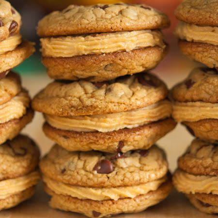 Chocolate Chip and Peanut Butter Mousse Sandwich Cookies