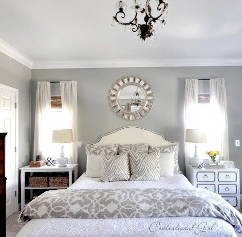 bedrooms - Bed Bath & Beyond Barbara Barry Poetical Linen Duvet Bed Bath & Beyond Barbara Barry Poetical Linen Sham white nailhead trim headboard white gray zebra pillows DIY Dorothy Draper chest nightstand white lamps white sheers bamboo roman shades sunburst mirror