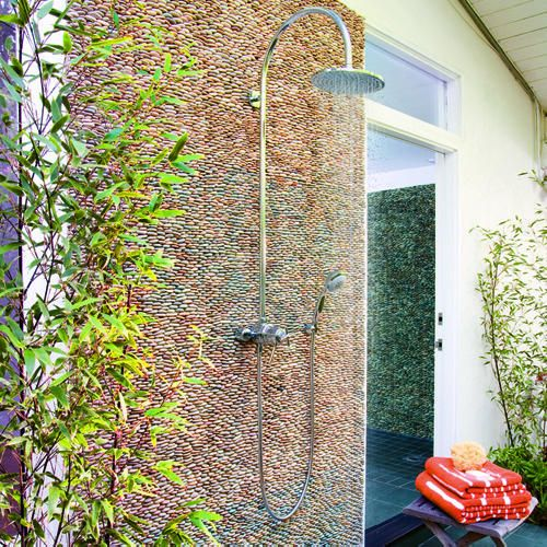 Pebble wall outdoor shower