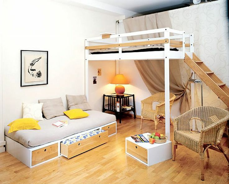 Small space unique loft bed for teenager finn 39 s new room decor pi - Creative bunk beds for small spaces decoration ...