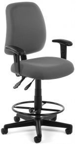 Chair Gray Posture Task Office Chair With Arms And Drafting Kit 118 2