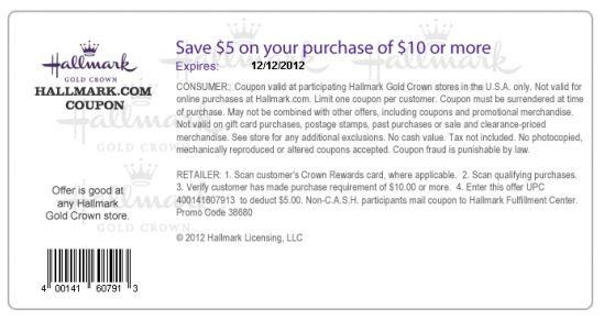 Hallmark coupon 5 off 10