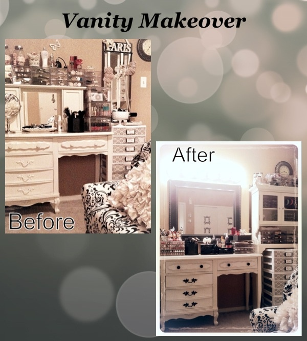 DIY Makeup vanity transformation. Paint the knobs black and add a mirror and some vanity lights ...