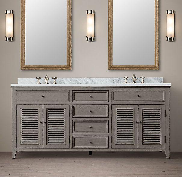 Shutter Double Vanity Sink Gray Double Sink Vanity Bathroom Vani