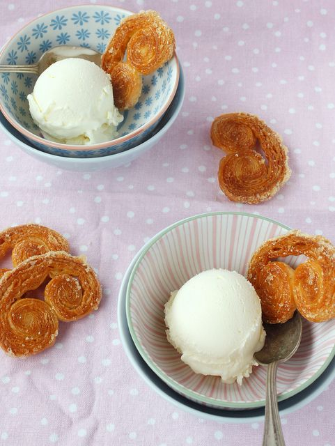 Palmiers with #icecream palmitas con helado. Delicioso