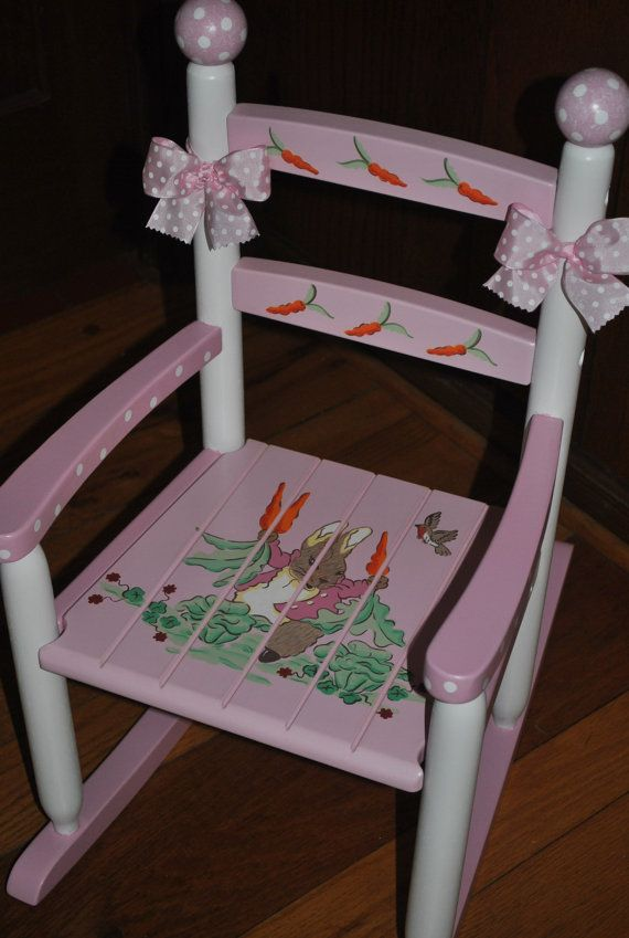 Painted childrens chairs childrens custom hand painted rocking chair