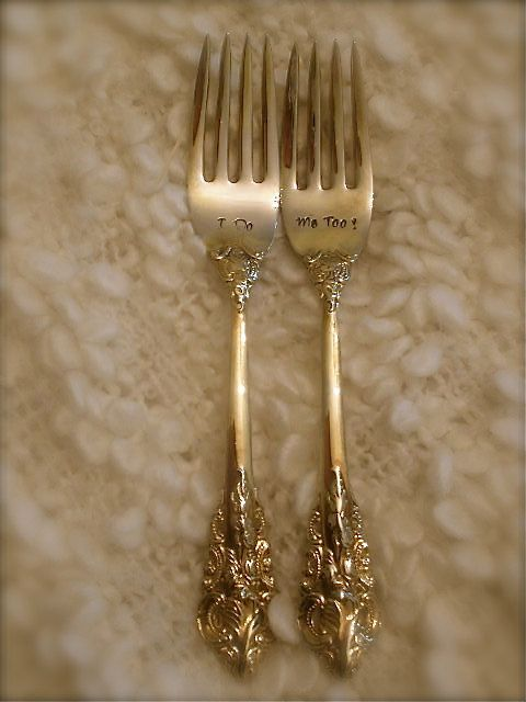 Vintage Gold, Wedding Forks, Hand Stamped -  As Seen on Glamour Magazine's Wedding Blog. $30.00, via Etsy.