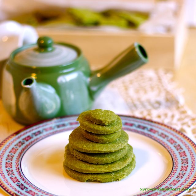 Matcha Green Tea Shortbread Cookies Add crandberries and voila red and ...