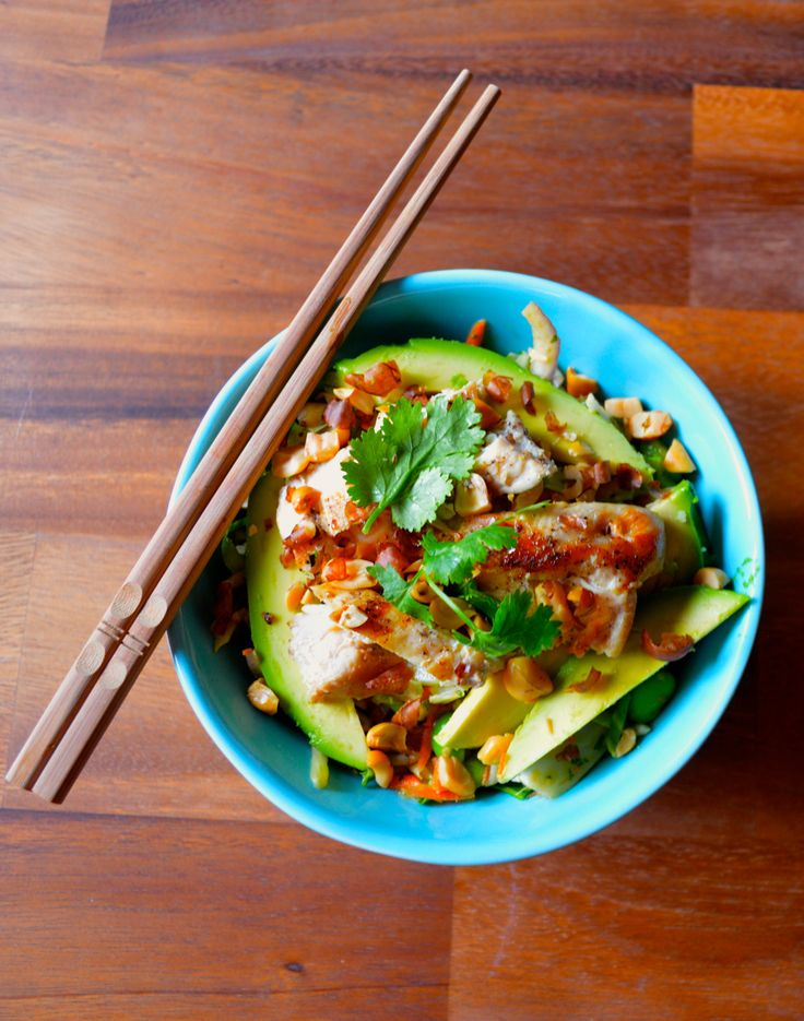 Thai Salad with Chicken, avocado & lime peanut dressing recipe at ...